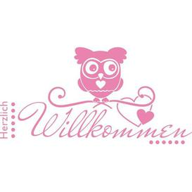 image-Herzlich Willkommen Wall Sticker East Urban Home Colour: Light pink, Size: 59 cm W x 30 cm D