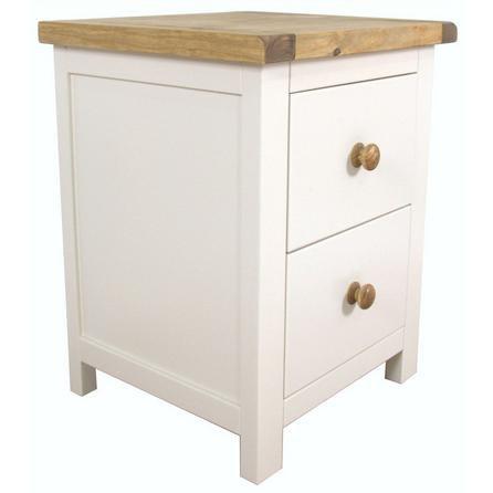 image-Kansas Wooden 2 Drawer Wide Bedside White