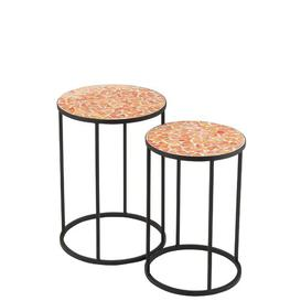 image-Karlsefni Shard Mosaic Metal and Glass 2 Piece Nest of Tables Brayden Studio Table Top Colour: Brown