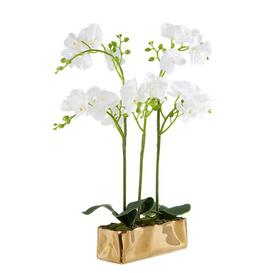 image-15cm Artificial Flowering Plant in Pot Canora Grey Container Colour: Gold
