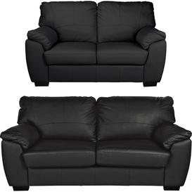 image-Argos Home Milano Leather 2 Seater and 3 Seater Sofa - Black