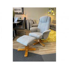 image-Oxford Swivel Massage Recliner Chair and Stool - Lisbon Silver