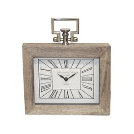 image-30cm Rect Table Clock Wood And Nickel / Nickel