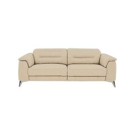 image-Sanza 3 Seater Leather Sofa - Beige- World of Leather