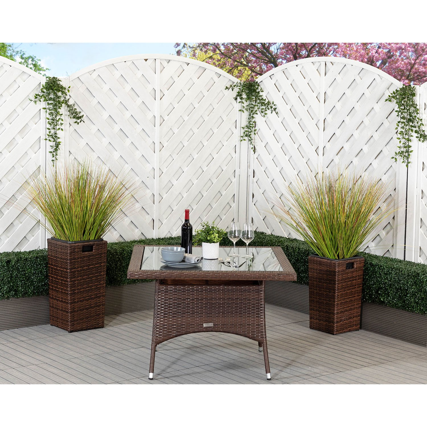 image-Square Rattan Garden Dining Table in Chocolate