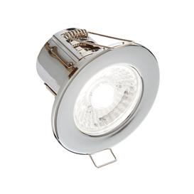 image-8W SMD LED Fire Rated Downlight, Dimmable, IP65 Rated, Chrome Finish - Cool Light 4000K.