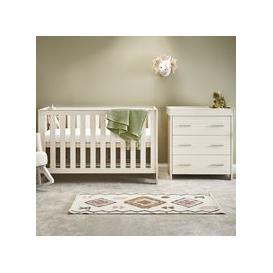 image-Obaby Nika Cot Bed 2 Piece Nursery Furniture Set - Grey Wash and White