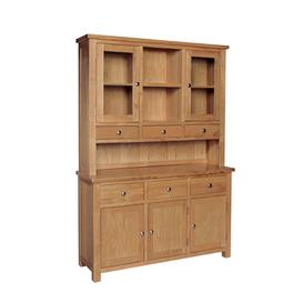 image-Dorset Oak Furniture Large Dresser Display Cabinet