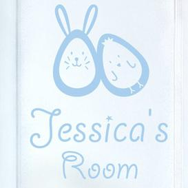 image-Bunny Rabbit Egg and Chick Kids Door Room Wall Sticker Happy Larry Colour: Light Blue