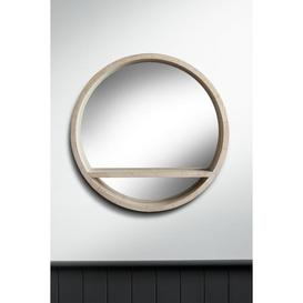 image-Round Wooden Vanity Mirror with Shelf
