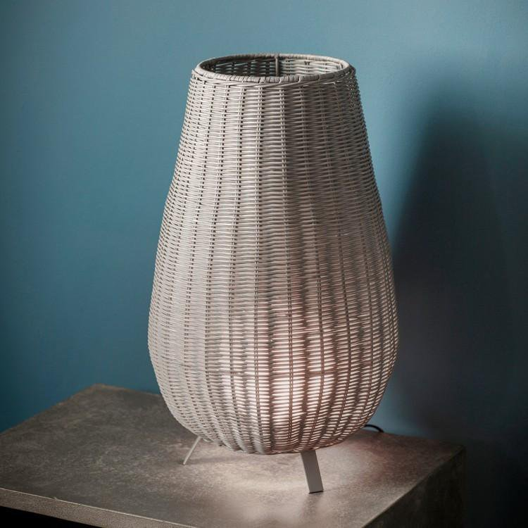 image-Gallery Bromley White Wicker Table Lamp