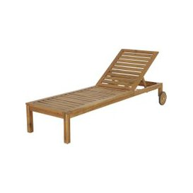 image-Solid Acacia Wheeled Sun Lounger Jersey