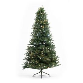 image-7ft Green Pine Artificial Christmas Tree with 500 Coloured and White Lights with Stand