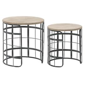 image-Katelyn Wood and Metal 2 Piece Nest of Tables
