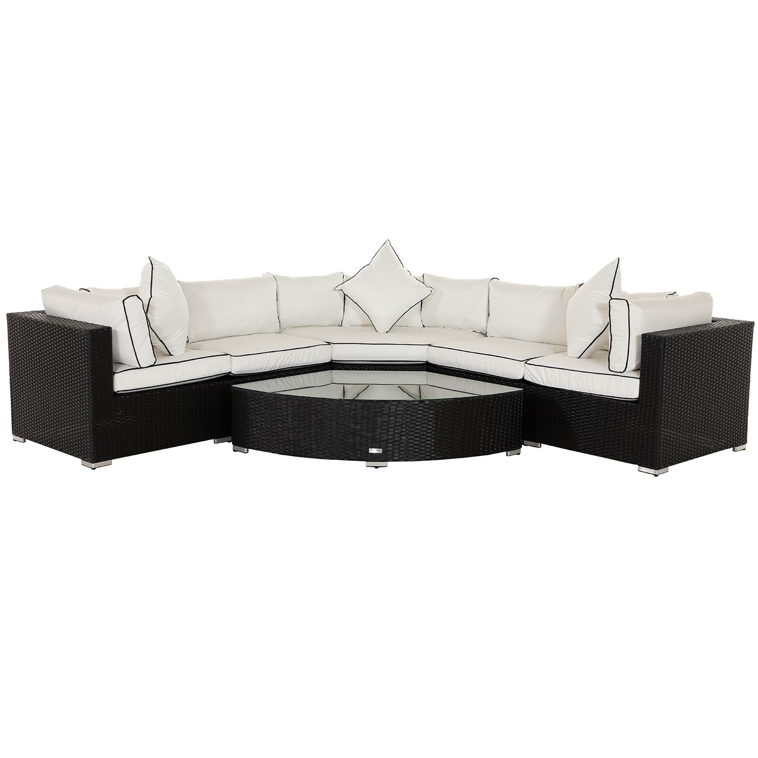 image-Florida 6 Piece Angled Rattan Garden Corner Sofa Set in Black and Vanilla