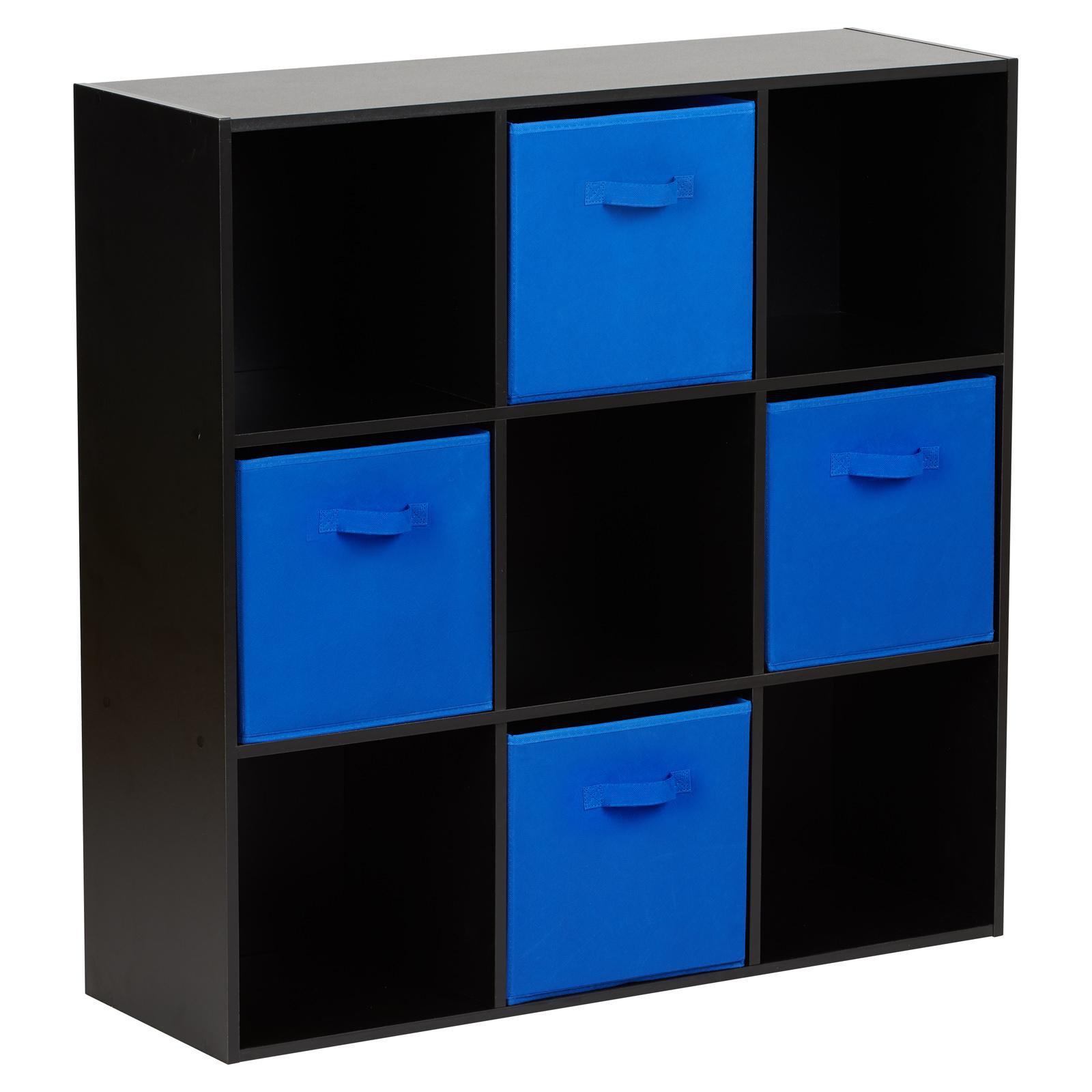 image-Hartleys Black 9 Cube Storage Unit & 4 Blue Handled Box Drawers