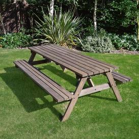image-Oakham Picnic Table Sol 72 Outdoor Finish: Rustic Brown, Table Size: 180cm L x 140cm W
