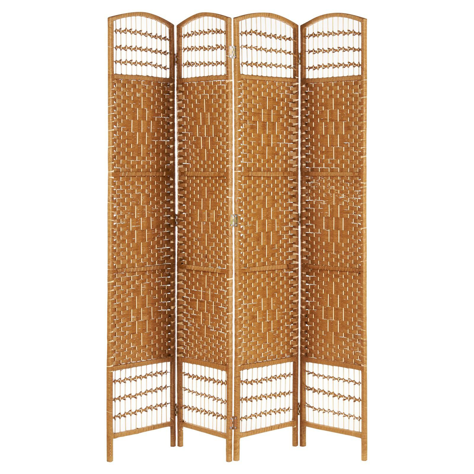 image-Hartleys Hand Made Wicker Room Divider - Natural - 4 Panel