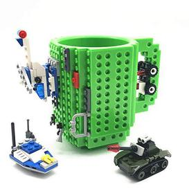 image-VANUODA Build-on Brick Mug, Coffee Cup, Santa Gifts Idea for Christmas, Unique Halloween Easter Father's Day Birthday Present for Men Dad Him Boys Friends Kids Adults, Compatible with Lego (Green) - Brand New