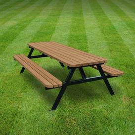 image-Polston Picnic Table Sol 72 Outdoor Finish: Rustic Brown, Table Size: 240cm L x 140cm W