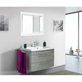 image-Holli 820mm Bathroom Furniture Suite with LED Mirror Ebern Designs Furniture Finish: Grey