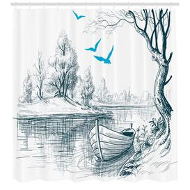 image-Boat Sketch Shower Curtain East Urban Home