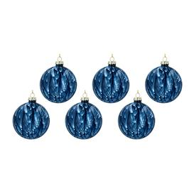 image-Gisela Graham - Marbled Glass Bauble - Set of 6 - Dark Blue
