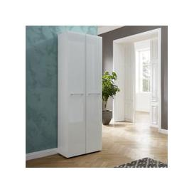 image-Vector Hallway Wardrobe In White With Glass Fronts
