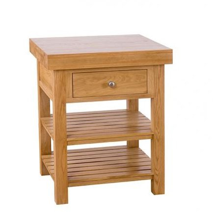 image-Evelyn Oak Square Kitchen Island with 1 Drawer & 2 Shelves