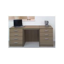image-Small Office Desk Set With 4+3 Drawers (English Oak)