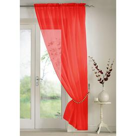 image-Troy Slot Top Panel Sheer Curtain (Set of 2) Marlow Home Co. Colour: Red, Panel Size: 145 W x 183 D cm