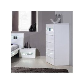 image-Pulse High Gloss 5 Drawer Cabinet In White With LED Lighting