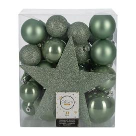 image-A by AMARA Christmas - Set of 33 Assorted Baubles and Tree Topper - Sage Green