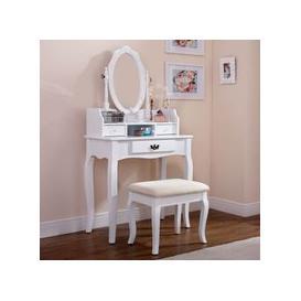 image-Lumberton Dressing Table White & Pine 3 Drawer With Stool