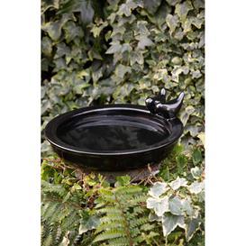 image-Two Little Birds Round Ceramic Bird Bath With Food