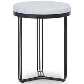 image-Gillmore Space Finn Silver Woven Fabric and Black Matt Round Stool