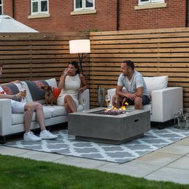 image-Nova Garden Furniture Albany Square Light Grey Gas Firepit Coffee Table