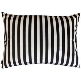 image-Large Black and Ivory Stripe Velvet Cushion - Circus Striped Pillow