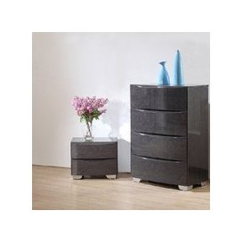 image-Parker Bedside Cabinet In Grey High Gloss With 2 Drawers