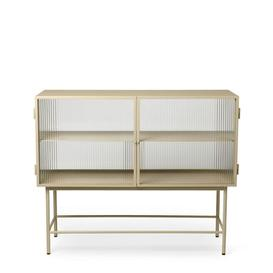image-Haze Dresser - / L 110 x H 90 cm / 2 fluted glass doors by Ferm Living Translucent,Cashmere beige