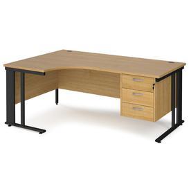 image-Value Line Deluxe Cable Managed Left Hand Ergo Desk 3 Drawers (Black Legs), 180wx120/80dx73h (cm), Oak
