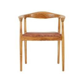 image-Formosa Natural Teak Wood Chair With Brown Leather