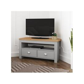 image-Fiona Wooden Corner TV Stand In Grey And Oak With 2 Drawers