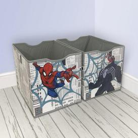 image-Disney Marvel Spider-Man Twin Pack Storage Boxes Blue, Red and Grey
