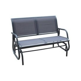 image-2 Seater Glider Rocking Garden Patio Bench With Mesh Seat - Grey