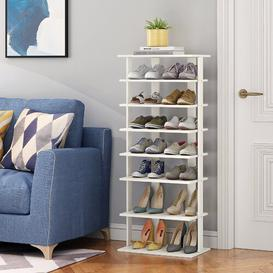 image-Wooden 14 Pair Shoe Rack Mercury Row Finish: White