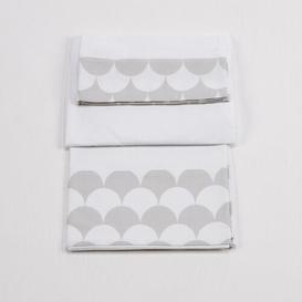 image-Baby Sheet Set Just Kids Colour: White/Grey, Size: 80 cm W x 150 cm L