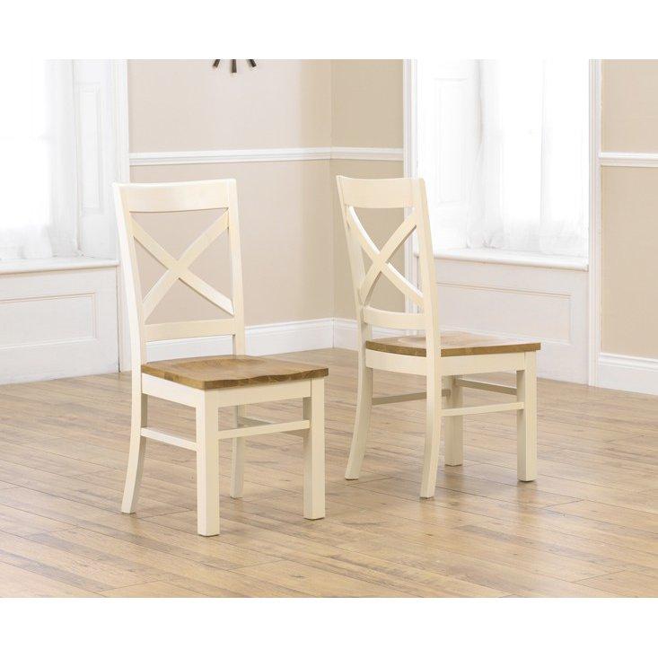image-Cavanaugh Cream & Oak Furniture Dining Chairs Pair