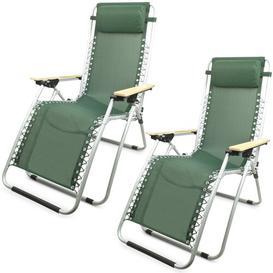 image-Aubriana Folding Zero Gravity Chair Dakota Fields Colour (Fabric): Green