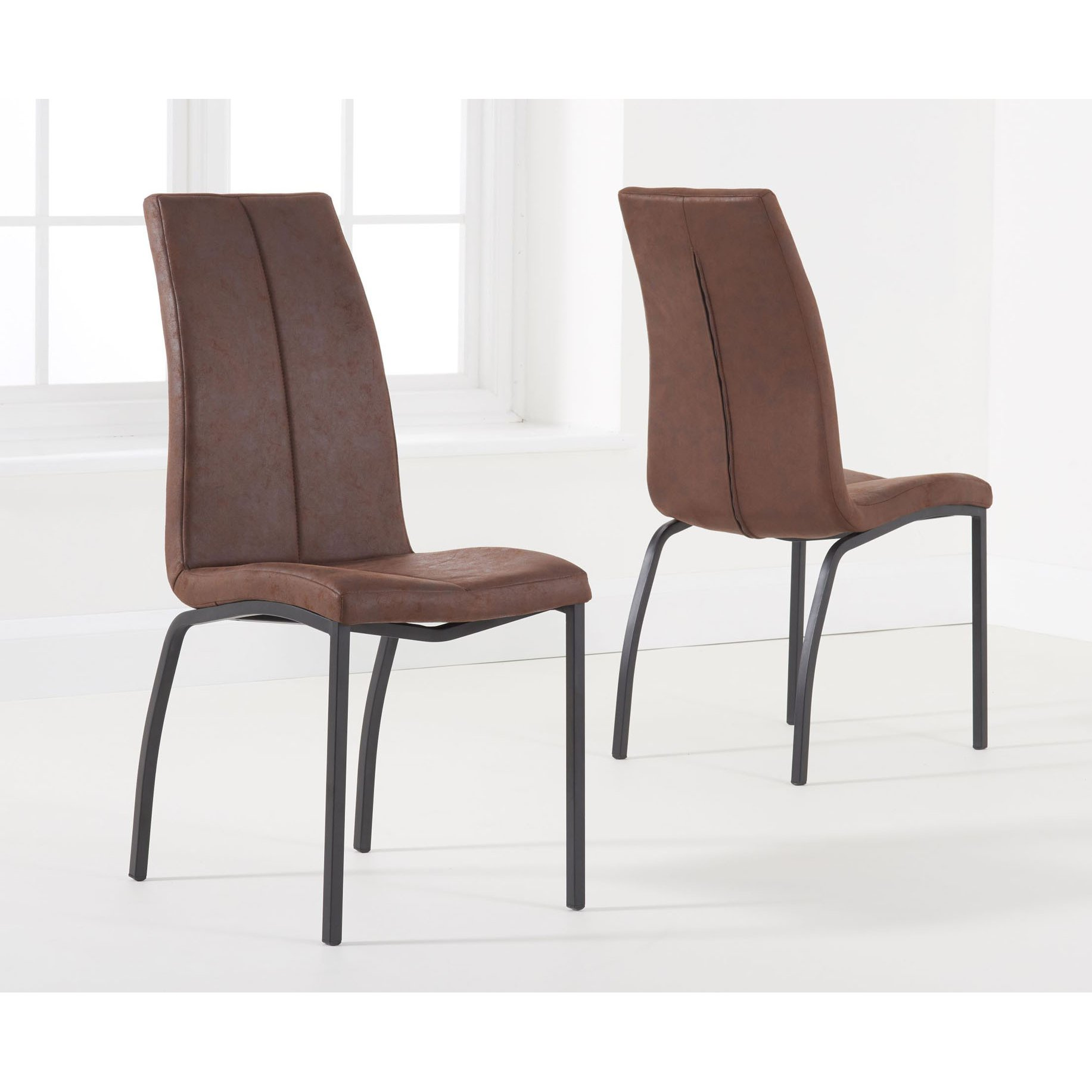 image-Nadia Furniture Antique Brown Fabric Dining Chair Pair